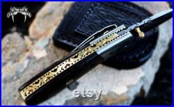 Ribbon snake 3.5 Damascus knife Pocket Knife, Damascus Folding Knife Wenge Wood Handle Hand Made, Gift for him, Damascus Fold blade