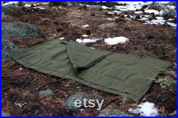 Rustic Waxed Canvas Cowboy Bedroll (Forest Green), with leather roll straps