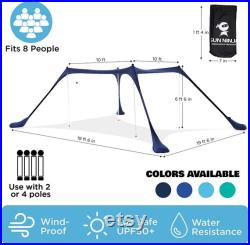 SUN NINJA Pop Up Beach Tent Sun Shelter UPF50 with Sand Shovel, Ground Pegs and Stability Poles
