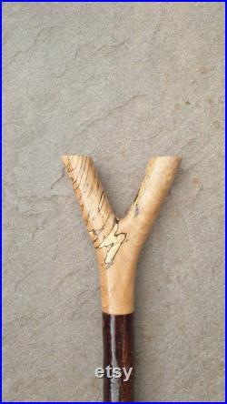 Spalted beech thumbstick on a blackthorn shank.