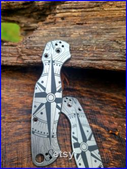 Spyderco PM2 Compass Rose with Topographic background Fiber Laser Deep Engraved Titanium Knife Scales EDC NIB