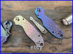 TURBO Deep Engraved and Anodized Titanium Knife Scales Clip for PM3 Spyderco Para Military 3 Folding Knife scales Pocket knife EDC MetonBoss