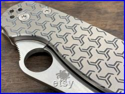 TURBO deep Engraved Titanium Knife Scales for PM2 Spyderco Para Military 2 Folding Knife scales Pocket knife EDC MetonBoss Every Day Carry