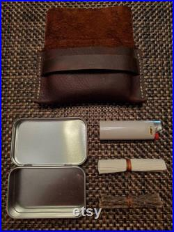 The Tinderbox Fire Kit with 6 and 4 Suede Pouches