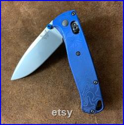 Titanium Deep Engraved Scales for Full Size Benchmade Bugout 535 Knife Blue Topo