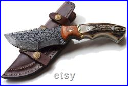 Tracker Knife Stag horn Handle, Hammered Damascus Hunting Skinning Knives with beautiful cow leather sheath