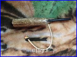 Turquoise Inlayed Elk Main beam fire starter
