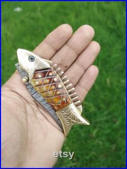 Unique Handmade Golden Fish Engraved Folding Knife Damascus Steel Blade Pocket Knife Bone Handle Folding-4 For Gift Leather Pouch