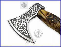 VDF-015 Handmade 1095 Carbon Steel Viking Tomahawk, Hatchet , AXE , Gift For Him, Christmas Gift, Anniversary Gift Sheath