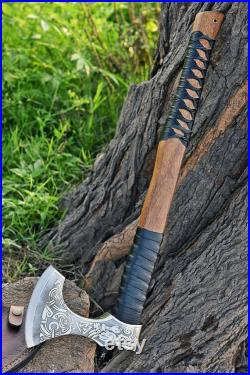 VIKING AXE , Walnut Axe, Handmade Hatchet, Engraved Norse style Axe, hunting Axe With Leather Sheath.