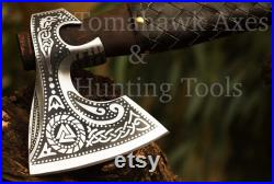 Viking Axe PERSONALIZED GIFT Custom Hand-made Engraved on Carbon Steel With Ashwood Handle, High Quality Medieval Hatchet, Best Gift For Him