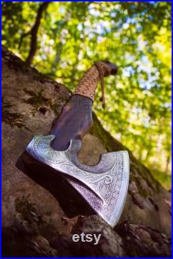 Viking Camping Axe Throwing Hatchet Gift For Him Forged Carbon Steel Axe with Wood Shaft, Viking Bearded Battle Axe AnniversaryGift For Him