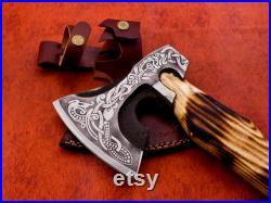 Viking forged Axe , Viking Axe, Personalized , Viking Hatchet, Bearded Axe, Battle Axe, Helm of Awe Carved Axe, Leather Wrapping Handle