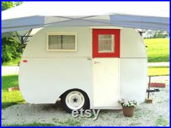 Vintage 1948 Kenskill Travel Trailer for Camping or Project Trailer, Rare OOAK, Upright Camper with Kitchen