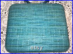 Vintage 2 Portable Padded Turquoise Vinyl Folding Stadium Boat Seats By Frabill Mfg. Co