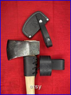 Vintage Craftsman Hatchet with Black Leather Skull sheath Belt Hanger and Overstrike Guard