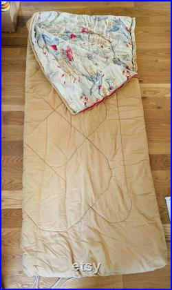 Vintage Sleeping Bag With Duck Hunting Themed Flannel