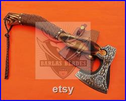 Vintage Viking Axe Hand Forged Hard Ash Burl Wood Handle Leather Scabbard Best gift for Axe lovers