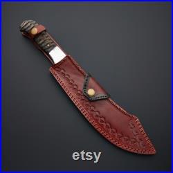custom Damascus steel Bowie hunting knife, hand forged knife,modern knife,Christmas blade, leather sheath
