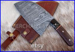 hand forged Damascus steel Serbian Cleaver with rose wood handle and bull horn bolster. with addition of belt loop thick leather sheath