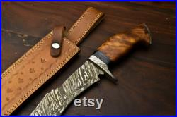 rare custom hand forged damascus hunting knife with Natural Wood handle -damascus guard- 100 handmade gorgeous hunting knife
