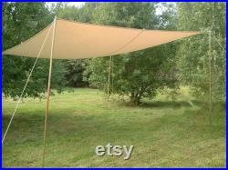 tarp 4 4 m with loops color ecru waterproof Ourdoor and Camping
